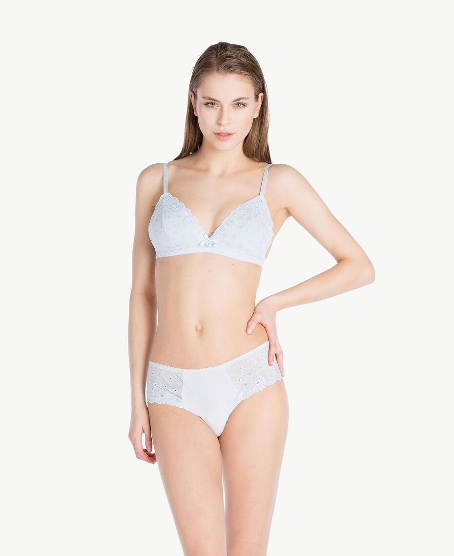 "Broderie anglaise triangle bra ""Fairy Blue"" Blue Woman LS8G22-02"