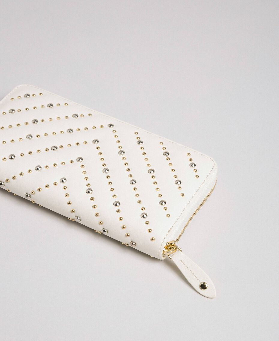 Portafoglio in pelle con borchie Bianco Papiro Donna 192TA7113-03