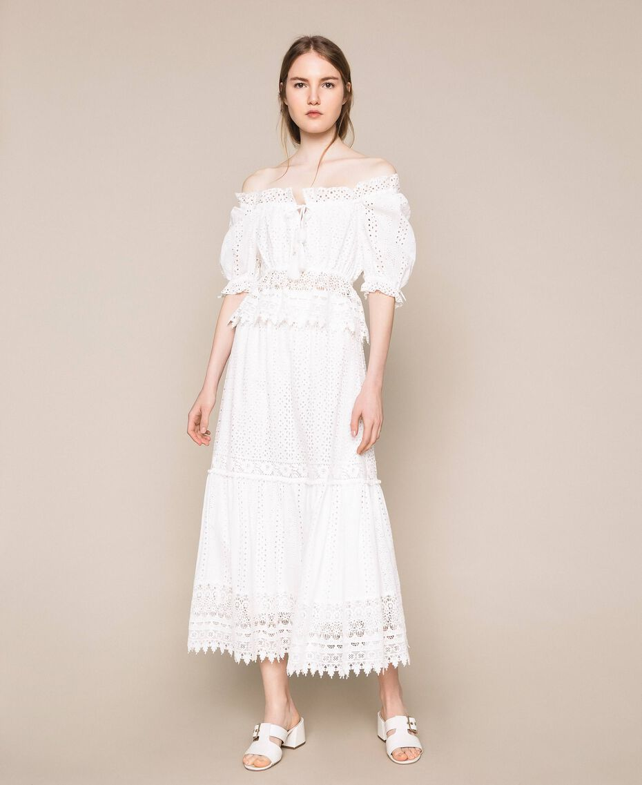 Broderie anglaise long skirt with lace White Woman 201LM2LJJ-02