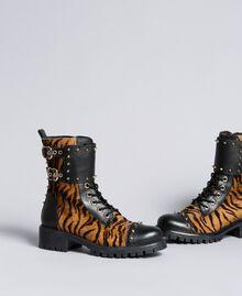 """Schnürstiefelette aus Leder mit Animaliereinsätzen Print """"Tiger"""" Frau CA8TEJ-01"""