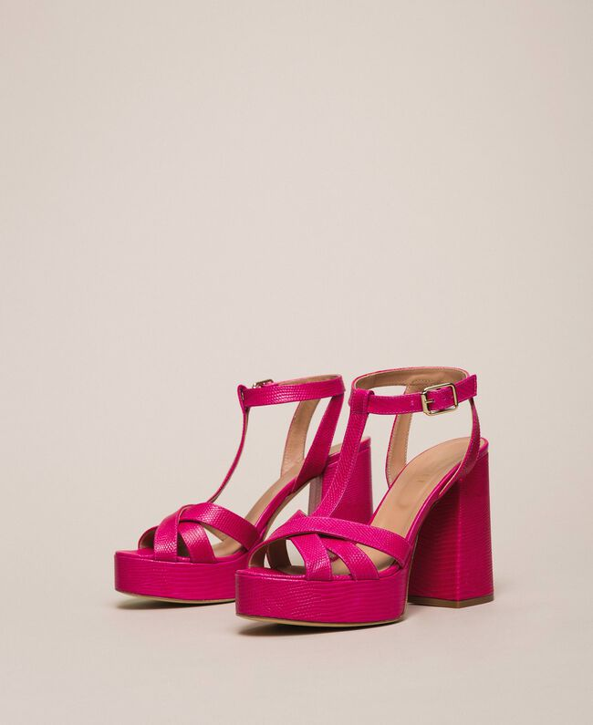 Leather T-bar sandals Bud Pink Woman 201TCP070-01