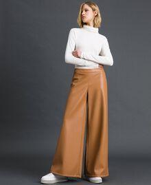 "Faux leather palazzo trousers ""Camel Skin"" Beige Woman 192LI2ECC-01"
