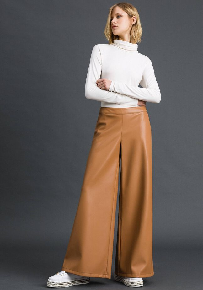 Faux leather palazzo trousers