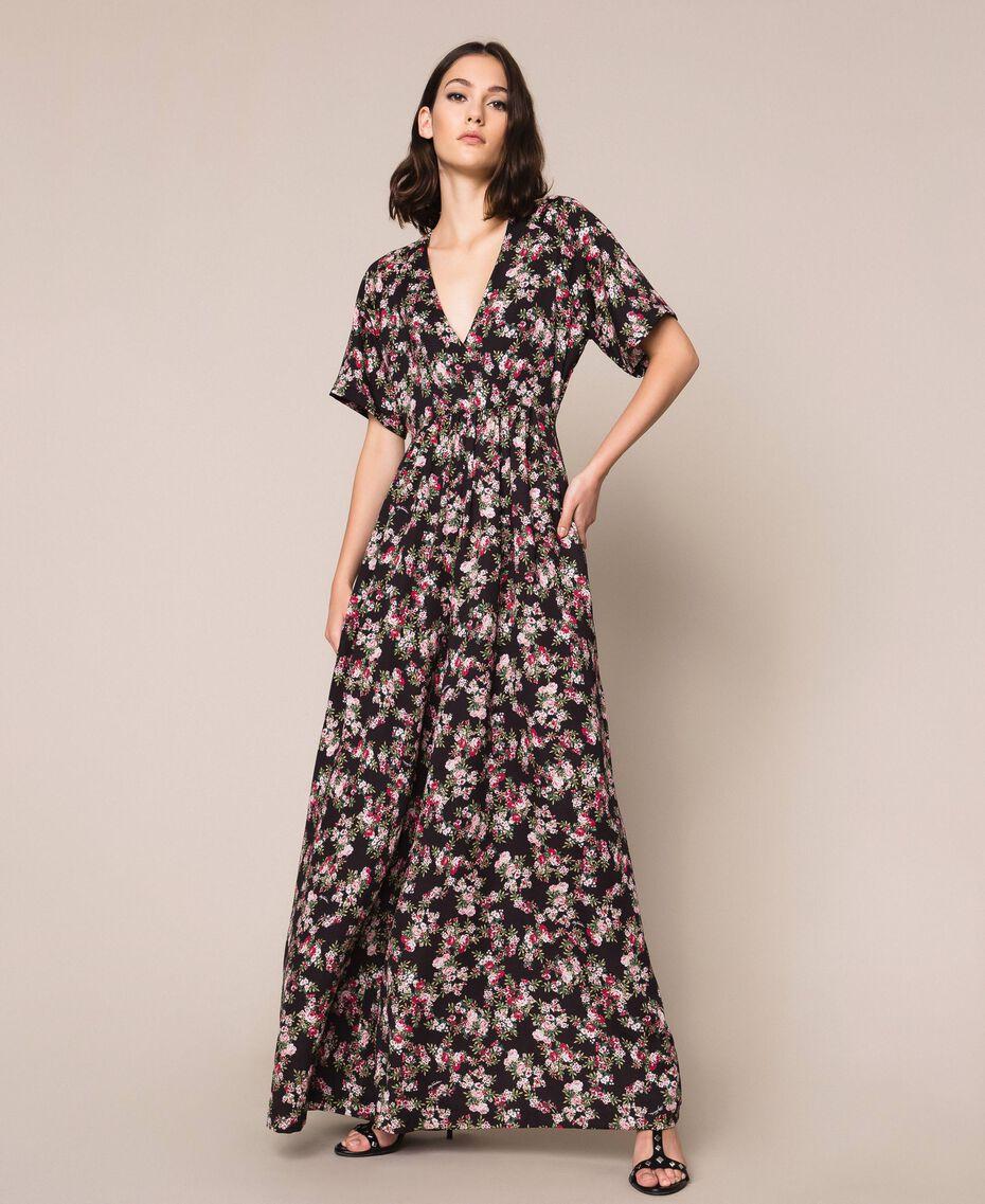 """Floral crêpe de Chine jumpsuit """"Quartz"""" Pink Flowered Print Woman 201MP2372-01"""
