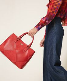 Faux leather shopping bag Cherry Red Woman 202MA7020-0S