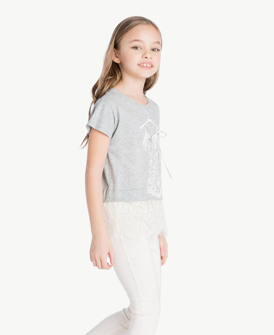 Lace T-shirt Two-tone Mid Melange Grey / Chantilly Child GS82XG-03