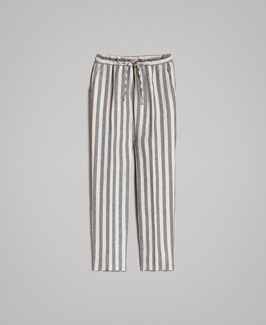 "Two-tone striped linen trousers Two-tone Black / ""Marzipan"" Beige Woman 191TT2314-0S"