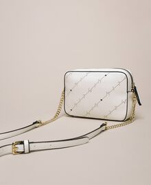 """Openwork faux leather shoulder bag """"Ice"""" White Woman 201MO8013-04"""