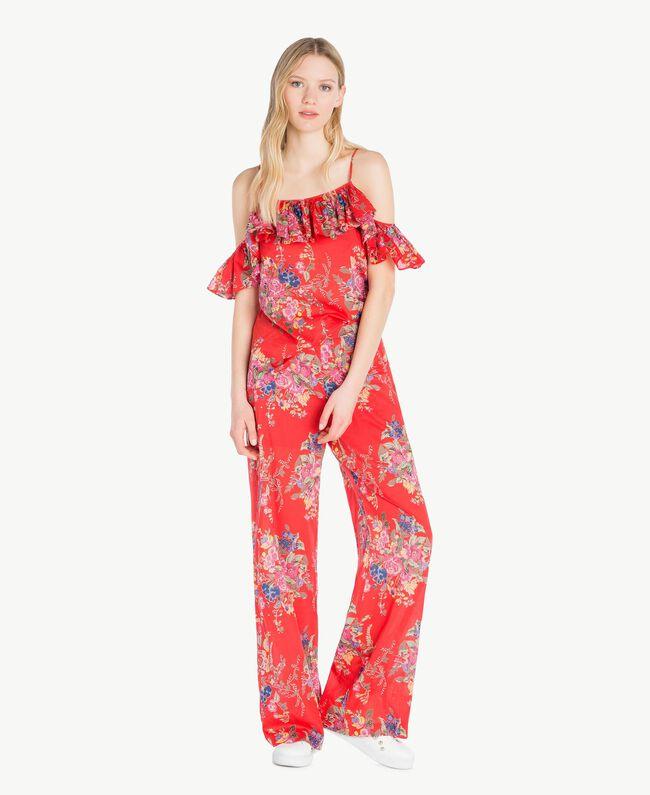 Pantalon imprimé Imprimé Fleurs Bouquet Rouge Femme YS82PE-05