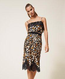Falda de raso animal print Estampado Animal print Mujer 202LL2EHH-02