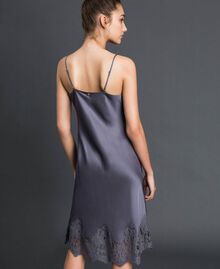 Satin slip with lace Lead Grey Woman 192LI21NN-03