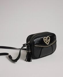 Faux leather shoulder bag with studs and tassel Black Woman 192MO8012-01