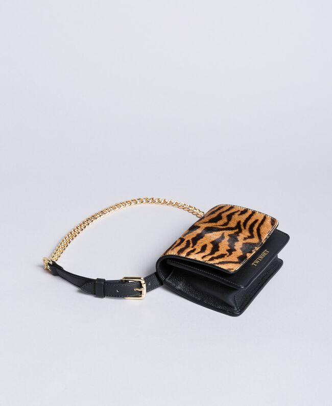 Leather and calf hair belt bag Tiger Print Woman OA8TDR-04
