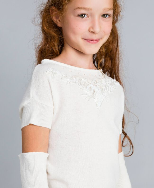 Cashmere blend jumper with embroideries Off White Child GA83CB-04