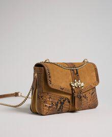 Grand sac Rebel à bandoulière en cuir et cuir velours Imprimé Python Brandy Femme 192TO8241-03