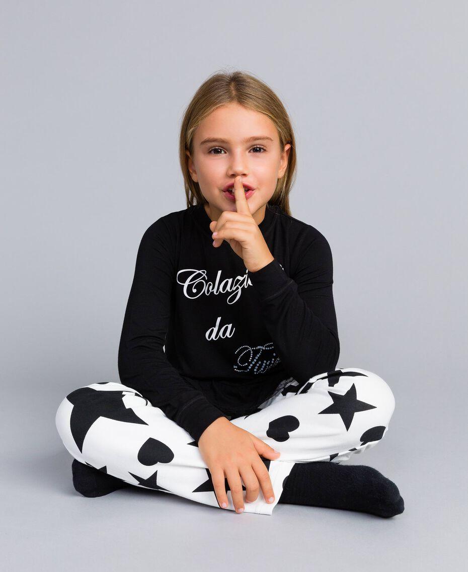 Jersey pyjamas with stars and hearts Bicolour Black / Star Print Child GA828E-0S