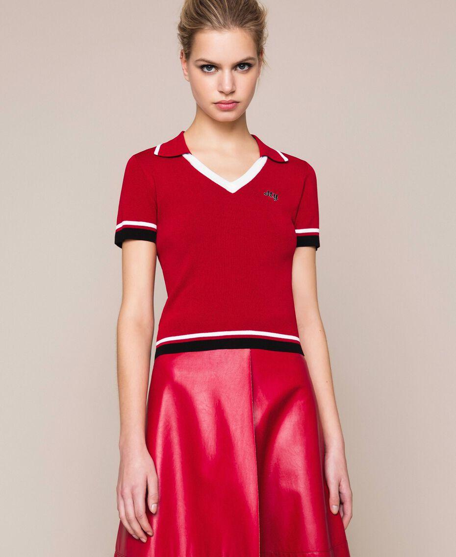 """Maglia a polo con profili a contrasto Multicolor Rosso """"Veneziano"""" / Vaniglia / Nero Donna 201MP3052-02"""