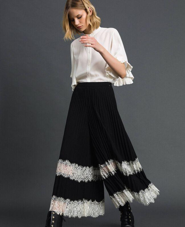 """Pantaloni a palazzo con pizzo Bicolor Nero / Bianco """"Neve"""" Donna 192TP2283-01"""