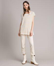 "Striped maxi t-shirt ""Savannah"" Beige / Off White Striped Print Woman 191ST2091-01"