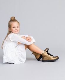 Bottines en cuir avec feston Marron Caramel Enfant HA88CE-0T