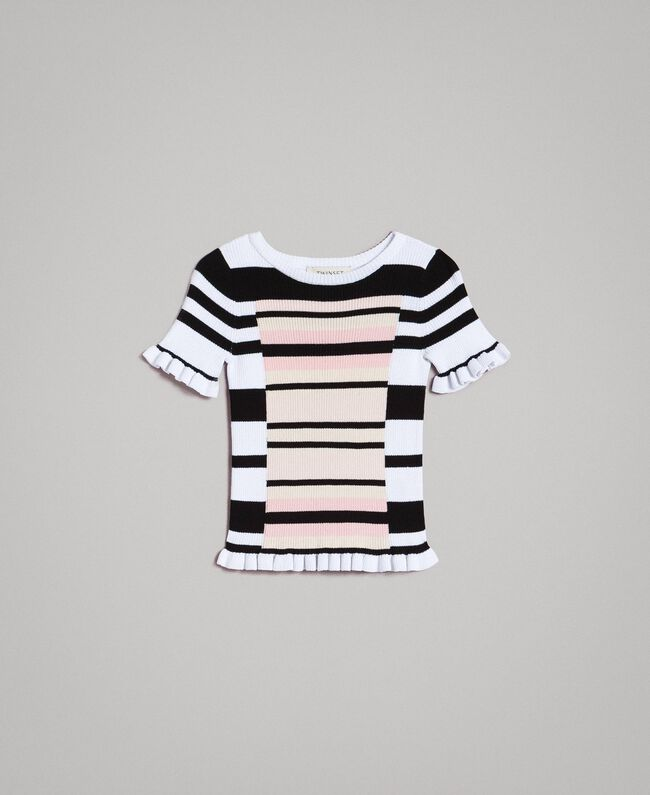 """Striped jumper with ruches """"Blossom"""" Pink / Chantilly Multicolour Striping Child 191GJ3040-01"""