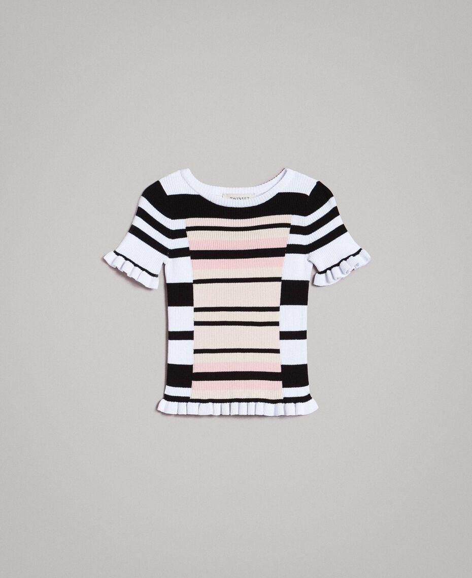 """Gestreifter pullover aus Jerseystoff mit Mikrorüschen Streifen """"Blossom"""" Pink / Chantilly Multicolour Kind 191GJ3040-01"""