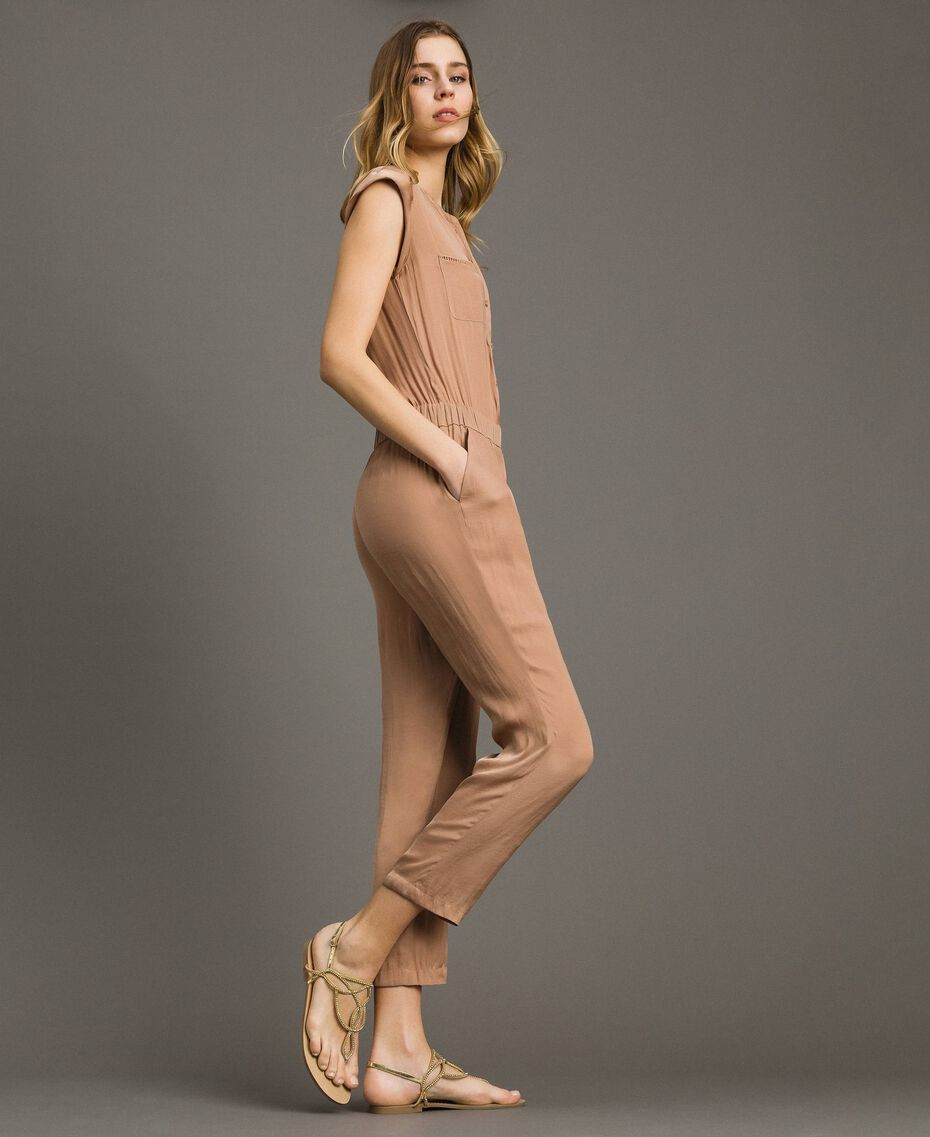 "Long jumpsuit with elasticated waistband ""Petra Sandstone"" Brown Woman 191LM2GDD-02"