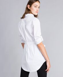 "Stretch poplin long shirt ""Ice"" White Woman JA82JA-03"
