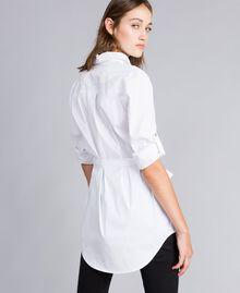 """Длинная рубашка из поплина-стрейч Белый """"Ice"""" женщина JA82JA-03"""