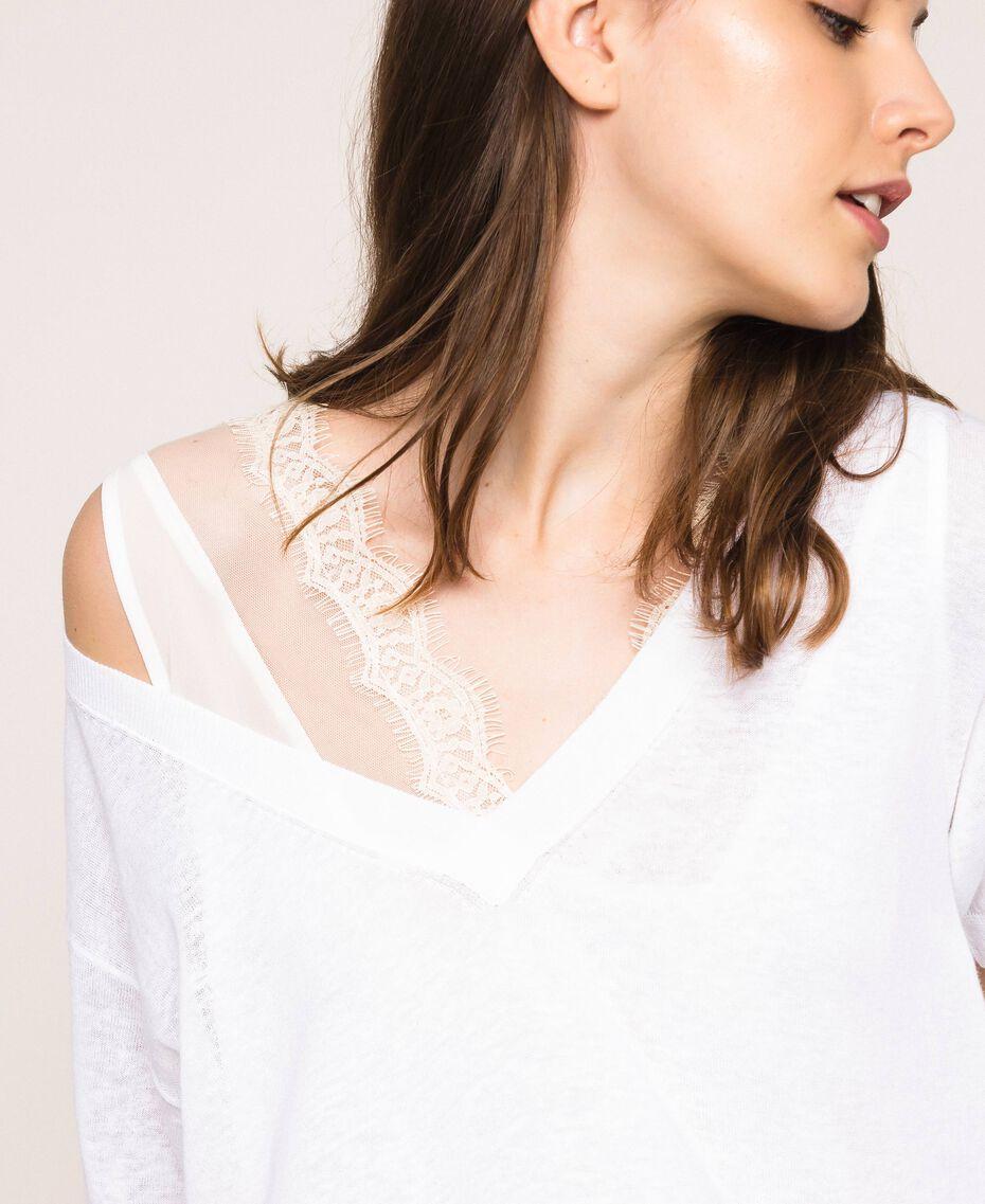 Mini-robe en lin mélangé avec fond de robe Noir Femme 201MT3021-01