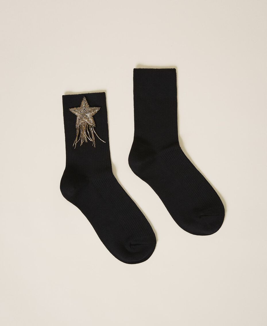 Socks with patch embroidery Black Woman 202TA436A-01