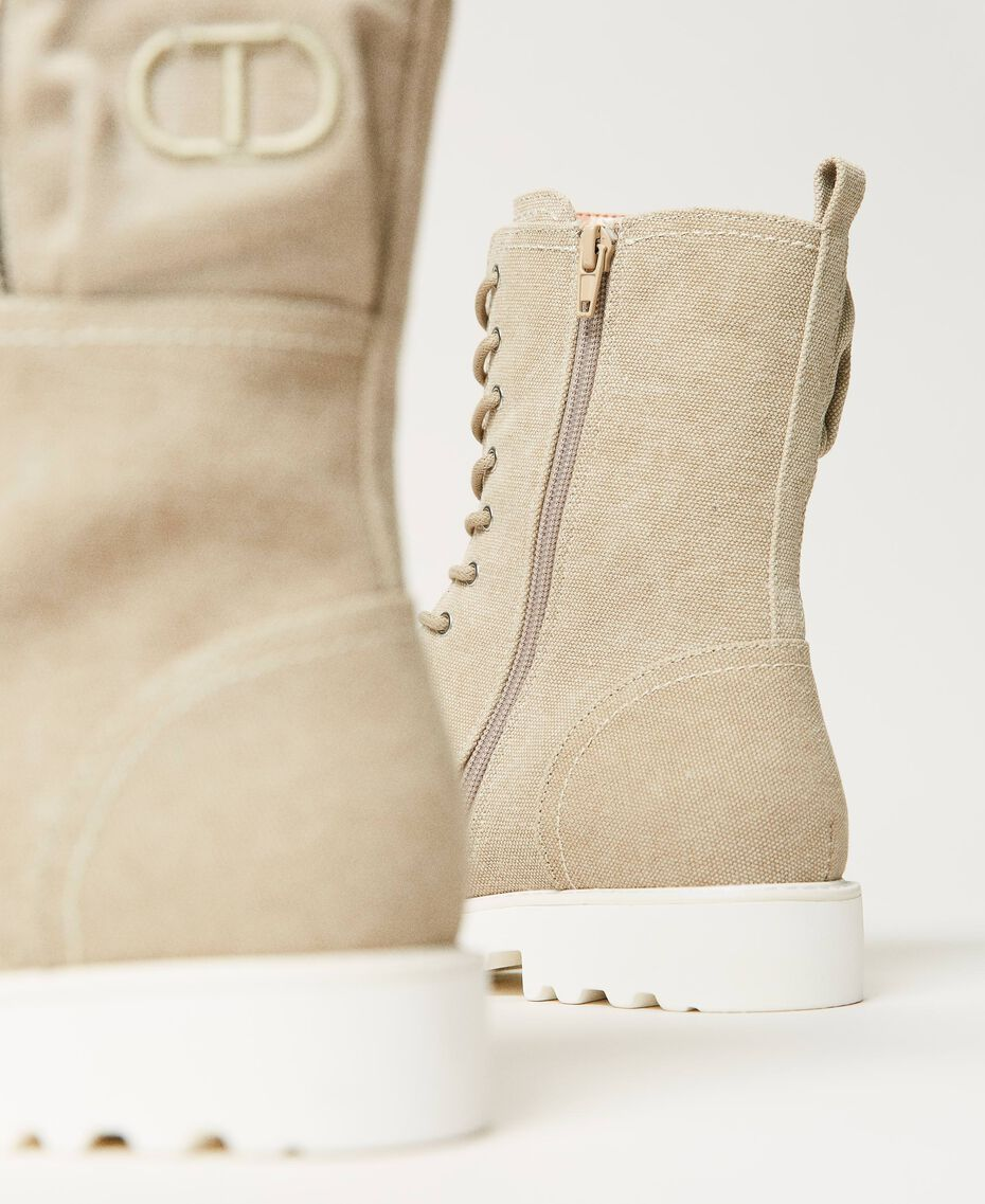 Canvas combat boots with logo Incense Beige Woman 211TCT070-02