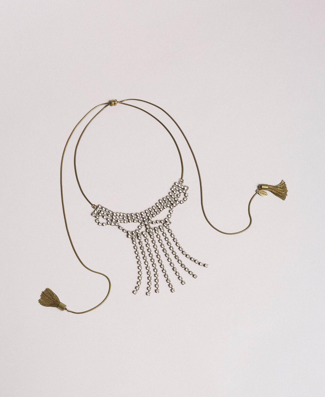 Collier chocker orné de strass et de pompons métalliques Bleu Céramique Femme 191TO5341-01