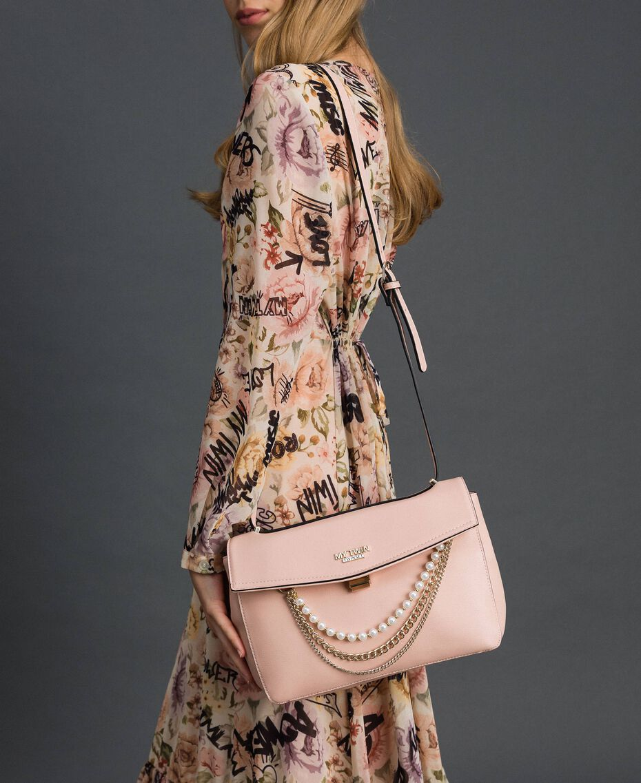 """Faux leather shoulder bag with pearls and chains """"Pale Pink"""" Woman 192MA7050-0S"""