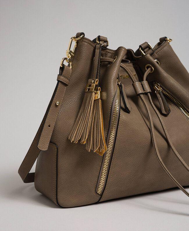 Large faux leather bucket bag Turtledove Woman 192TA7144-01