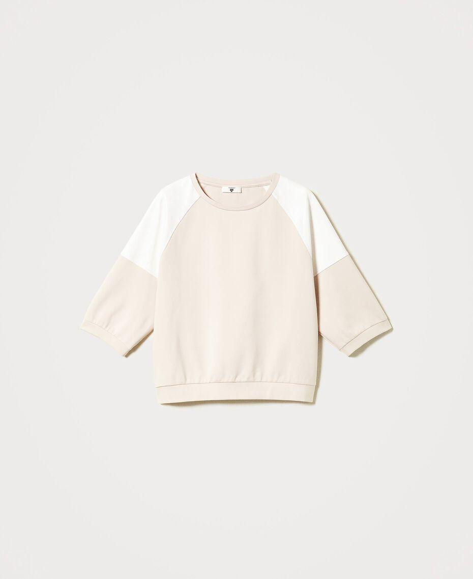 """Sweatshirt mit Einsätzen Zweifarbig """"Frappé""""-Rosa / Optisches Weiß Frau 211LL2ABB-0S"""