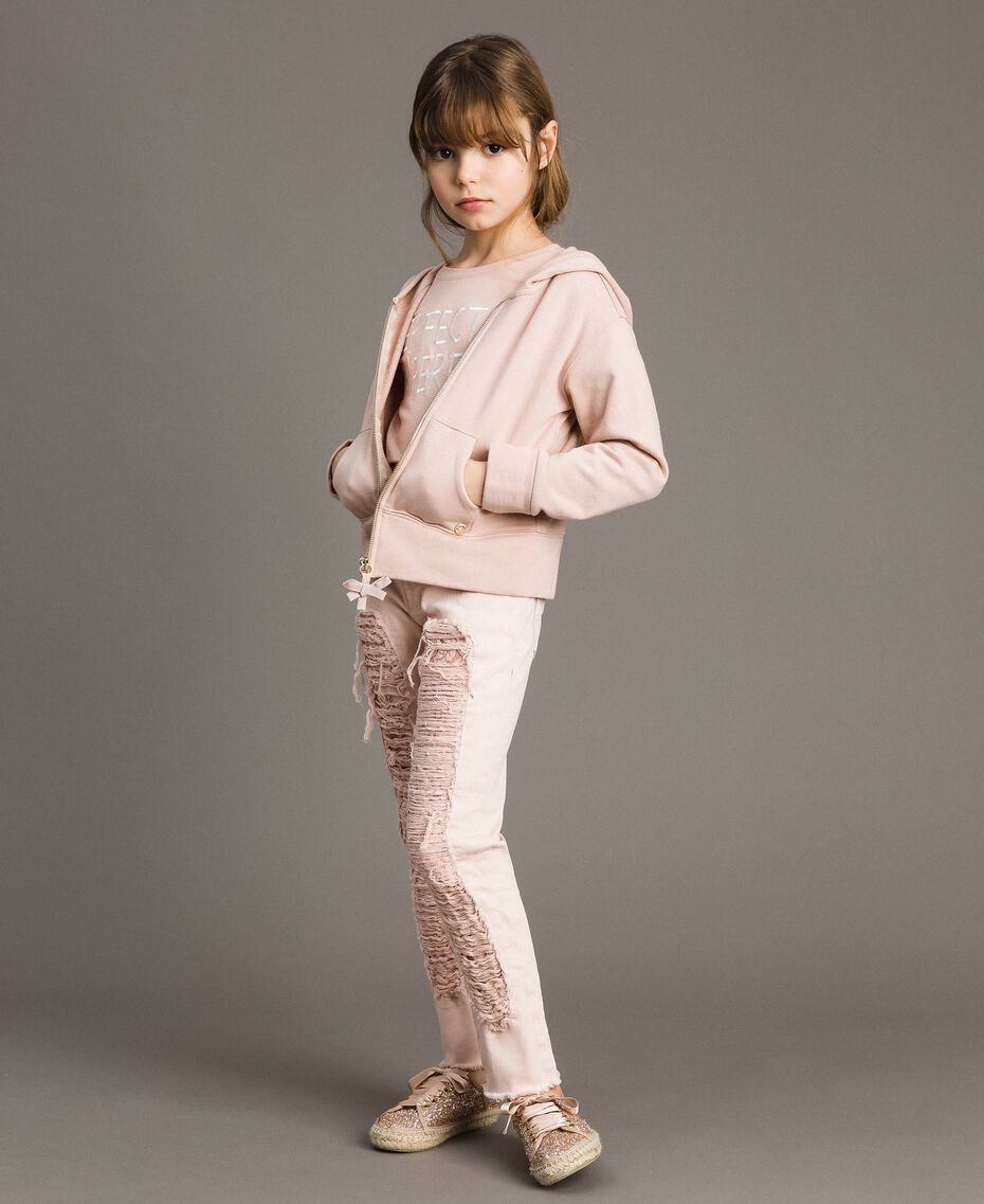 Skinny bull trousers with ripped details Blossom Pink Child 191GJ2061-0T