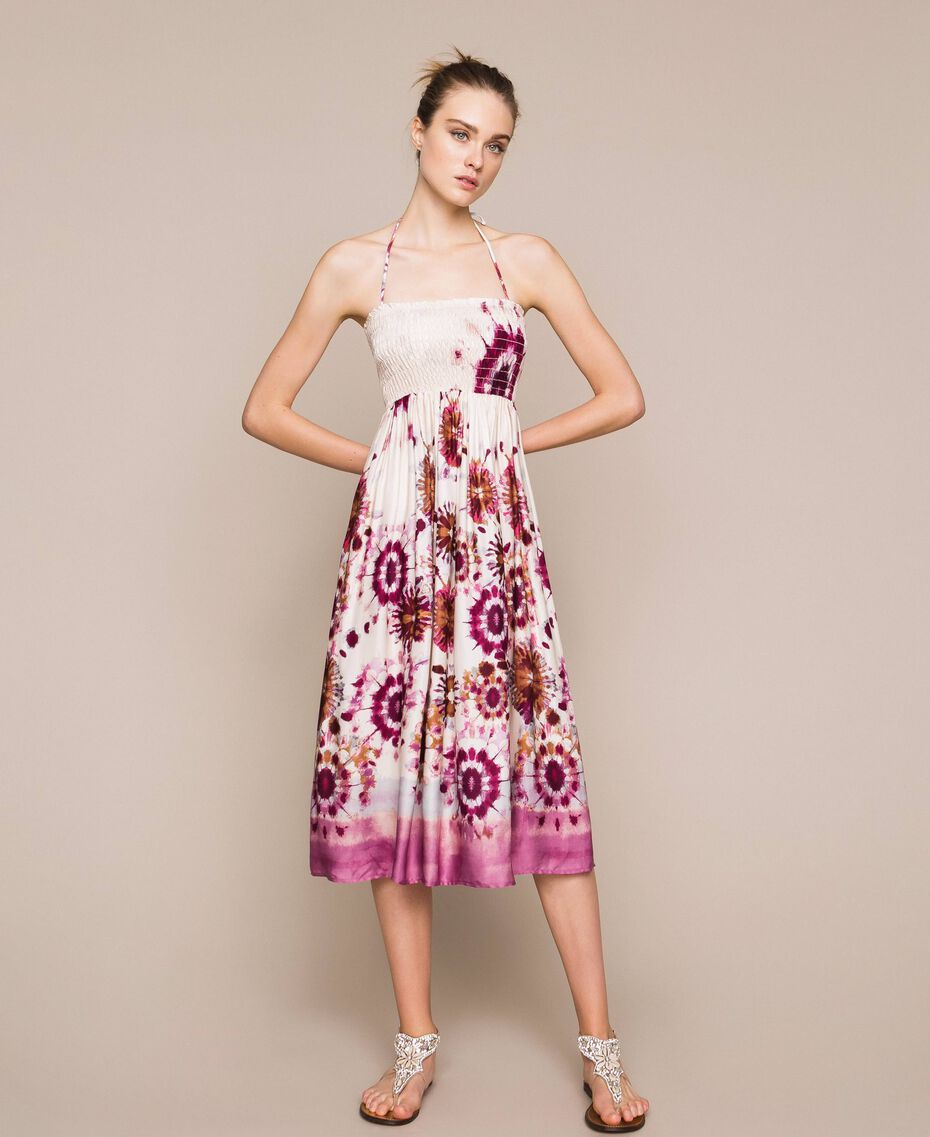 Printed satin skirt-dress Flirty Rose Unevenly Dyed Print Woman 201LB2GLL-05