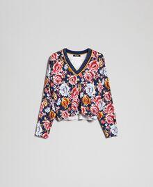 Pull cropped avec imprimé et encolure en lurex Imprimé Fleurs / Graffiti Bleu Femme 192MP3231-0S