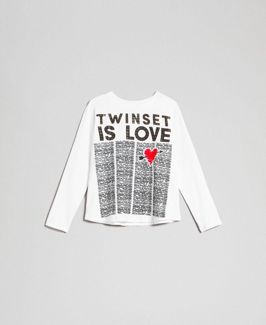 T-shirt avec imprimé et clous Imprimé Journal / Blanc Cassé Enfant 192GJ231B-0S