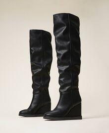Stivali cuissardes con zeppa Nero Donna 202MCT170-01