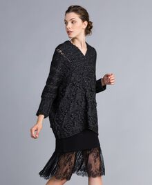 Kleid im Unterkleidstil aus Jersey mit Spitze Schwarz Frau PA82Z2-0T