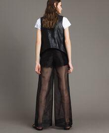 Pantalon palazzo en organza Noir Femme 191MT2132-03