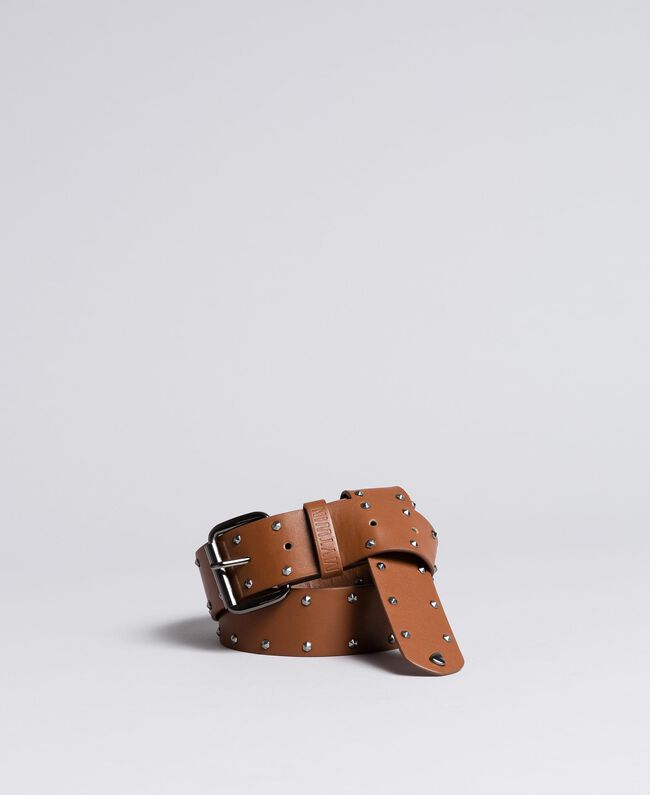 Cintura in similpelle con borchie Cuoio Donna VA8P5A-01