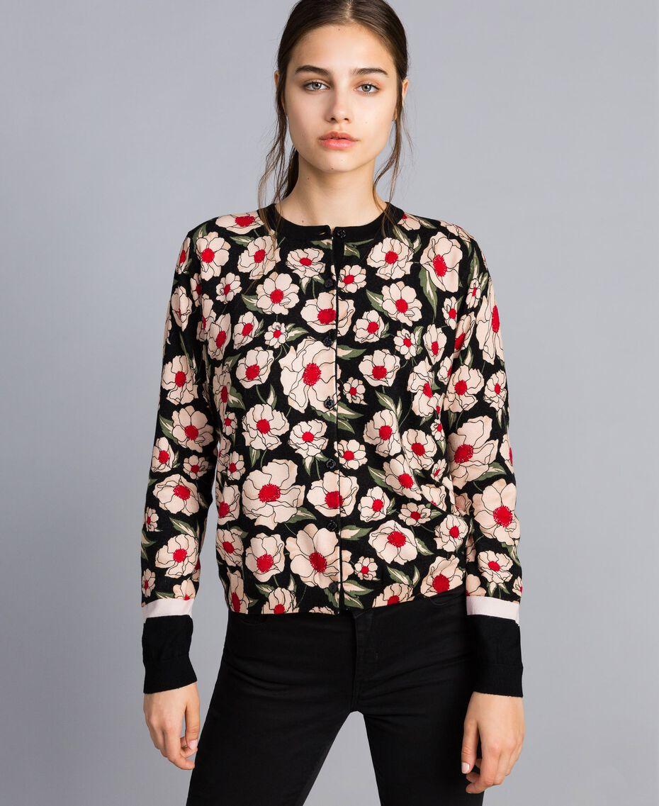 Printed viscose blend mandarin collar top Caramel / Black Windflower Print Woman YA83B1-02