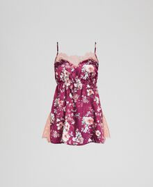 Floral jacquard top with lace Purple Red Floral Print Woman 192LI25DD-0S