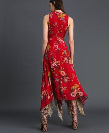 Georgette dress with floral and animal print Pomegranate Meadow Print Woman 192TP2750-03