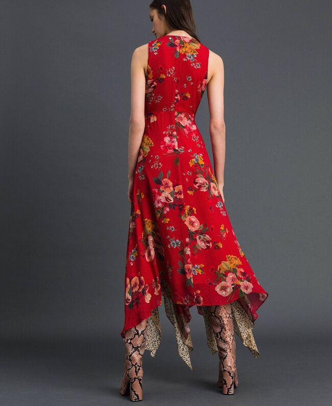 Robe en crêpe georgette avec imprimé floral et animalier Imprimé Fleurs des Champs Grenadier Femme 192TP2750-03