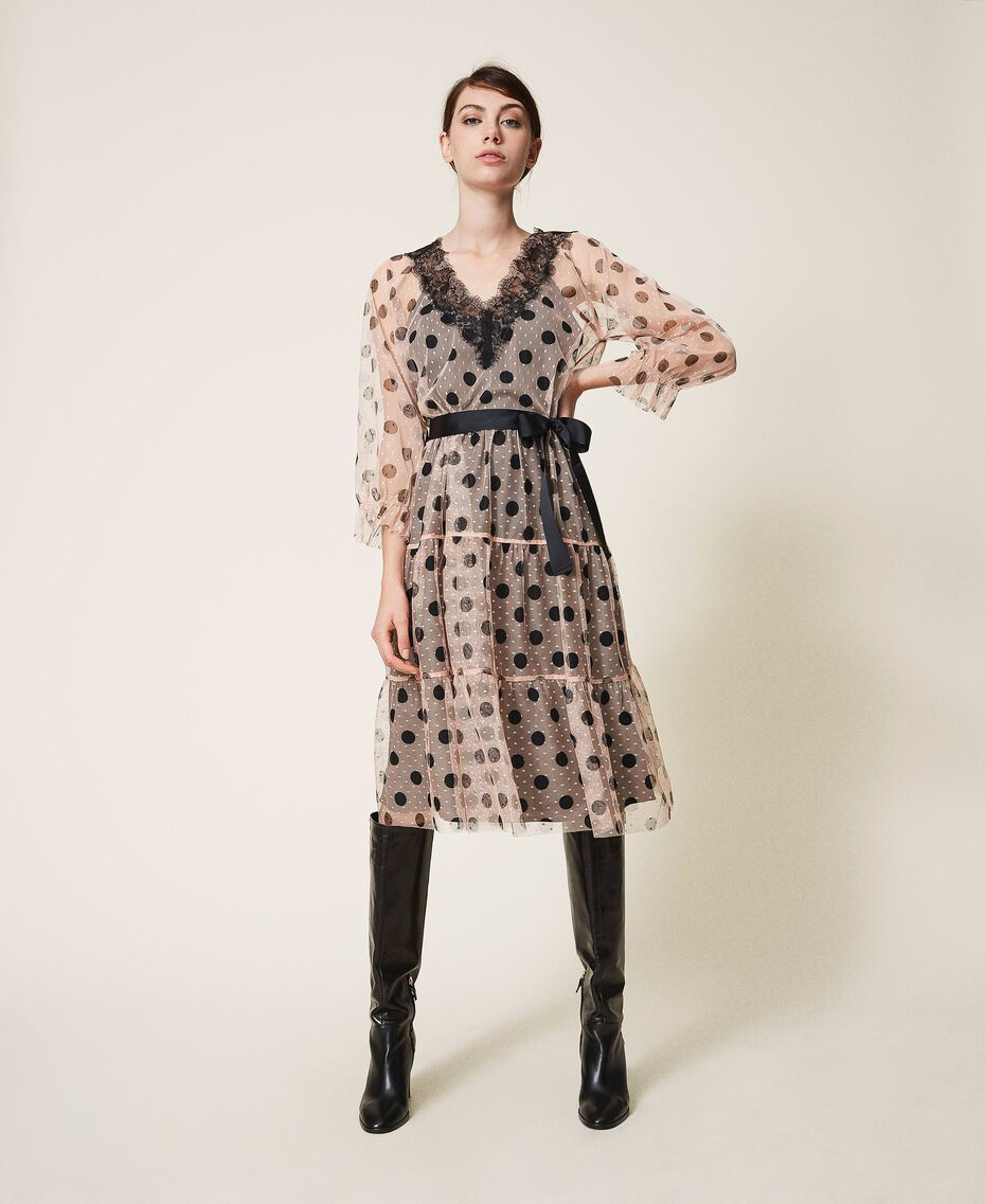 Tulle dress with lace and belt Nude Beige Polka Dot Print Woman 202ST2064-01