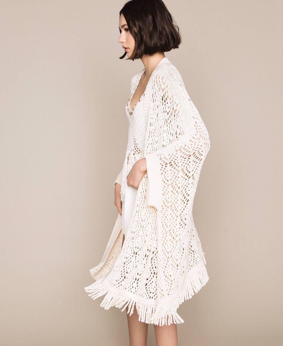 Cardigan poncho en crochet avec franges Blanc Antique White Femme 201TT3101-01